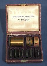 U. Nehrig NY Multichromatic Ampliscope Lenses +Original Case Antique Camera Lens