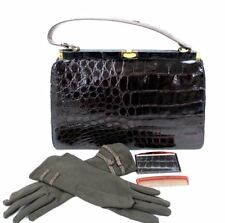 Vintage Patent Crocodile Purse Dark Brown Handbag Classic Bag Large /Gloves 50s