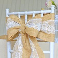 5-30 Pcs Lace Sashes Chair Cover Bows Jute Burlap Rustic Wedding Party Decor