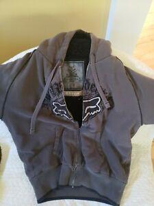 Fox Racing Sasquatch Gray Fur Fleece Lined Sweater Hoodie Jacket Mens Large