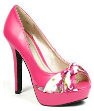 Fuchsia Pink Floral Faux Leather High Heel Peep Toe Platform Pump 8.5 us Qupid