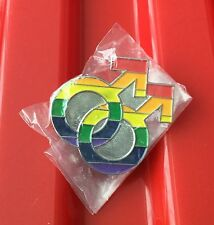 LGBT GAY PIN BADGE PRIDE BISEXUAL MAN RAINBOW FLAG MAN MALE GENDER SYMBOL SIGN