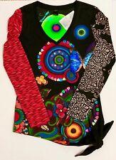 63c59fecf40 Desigual Women's V-Neck Sequin Long Sleeve Shirt / Tunic Top Size M Slim  Medium