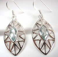 Faceted Blue Topaz Marquise Earrings 925 Sterling Silver Dangle Drop New