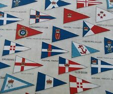 "NAUTICAL,ROYAL YACHT CLUB FLAGS, BOATS,YACHTS, cotton 54"" fabric /PER METRE/"