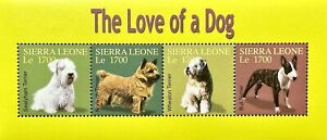 SIERRA LEONE DOG STAMPS 2004 MNH THE LOVE A DOG ANIMALS BULL TERRIER WHEATON PET