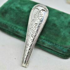 Vintage Sterling silver Money clip Handmade Hand Engraved Antique Art Deco #P812