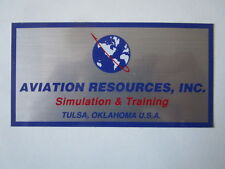 AUTOCOLLANT STICKER AUFKLEBER AVIATION RESOURCES INC SIMULATION TRAINING TULSA