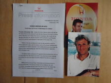 HONDA & TENNIS ACES orig 1999 UK Mkt Press Release +2 Photos Pat Cash Bjorn Borg