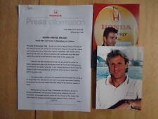 HONDA & TENNIS ACES orig 1999 UK Mkt Press Release +2 Photos Pat Cash Bjorn Borg
