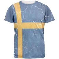 Distressed Swedish Flag Mens T Shirt