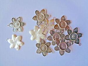 10 x Schmuckanhänger Blume gemustert Metall 42mm silberfarben Modeschmuck 216