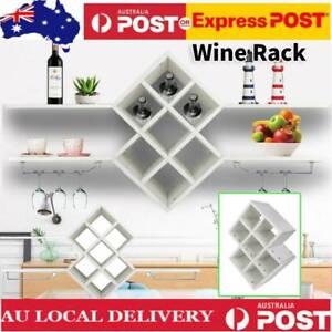 7 Bottle Wine Rack Glass Holder Hanging Bar Hanger Display Organiser Wall Mount
