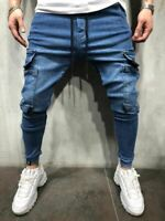 Herren Jeans Blue Slim Fit Jogger Denim Pant Mens Jean - Double Zipper STM 32112