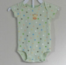CARTER'S Size 3 Months Girls Light Green Polka Dot Short Sleeve Bodysuit Romper