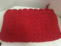 "Vintage Red Crochet Clutch Purse Handbag Made in Japan 13"" x 8.5"" Zip Close"
