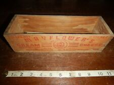 Vintage Mayflower Cream Cheese Wood Box Dairy Advertising wooden design retro
