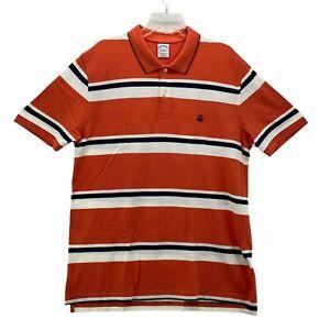 Brooks Brothers Performance Series Golf Polo Orange Slim Fit Striped Size XL