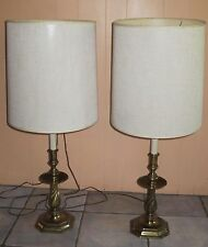 VINTAGE PAIR MIDCENTURY ERA HOLLYWOOD REGENCY STIFFEL BRASS PORTABLE TABLE LAMPS