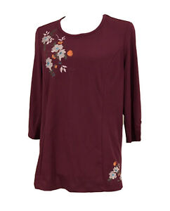 *NWT* Millers Size 12-14 Ladies Dark Berry (Burgundy) Embroidered Stretch Tunic