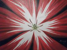 Pintura Al Óleo Abstracto Flor Grande Rojo Lona Floral Moderna Arte Contemporáneo