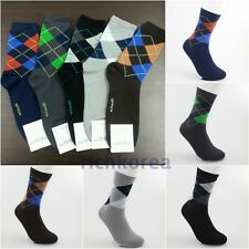 5 pairs Fashion casual dress Colorful argyle design Cotton Socks Adult size 7~10