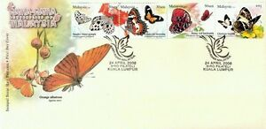 Butterflies Of Malaysia Insect 2008 Flora Fauna Flower (stamp FDC)