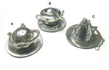 Stainless steel teapot shaped tea infuser set w/ trays, *** 3 PIECES SET ***
