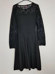 Vince Camuto Women's Vintage Black Lace Dress Size M Long Sleeve Black Sheer