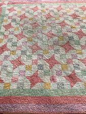 "Vintage CUTTER QUILT 51"" Sq Quilted Pink Feedsack Fabric 4 Point Star & Squares"