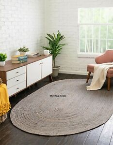 Rug 100% Natural Jute Braided style Oval Rug Area Carpet  Living Modern Grey Rug