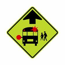 S3-1 School Bus Stop Ahead Sign FYG Yellow - 30 x 30. 10 Year 3M Warranty.