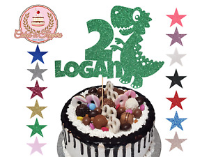 Dinosaur Glitter Cake Topper Personalise Baby TRex Birthday Party Any Name Age