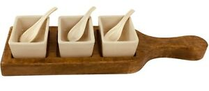 Serving tray dish dips wooden with bowls and spoons dining party dinner country