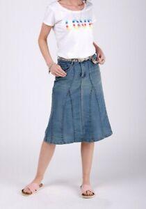 Stretch Denim Flared Skirt - Midwash Panelled Midi Skirt (Kimmid)