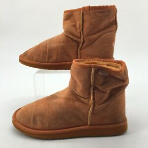 Emu Womens 7 Casual Pull On Shearling Ankle Booties Orange Pig Suede Wool Comfor
