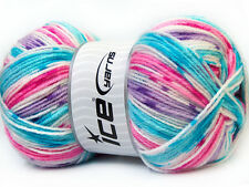 Lot of 4 x 100gr Skeins Ice Yarns CANDY BABY Yarn Turquoise Lilac Pink White