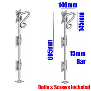 "GATE BOLT Garage Drop Bolt Barn Stable WorkshopDoor 24"" Galvanised Heavy +Fixing"
