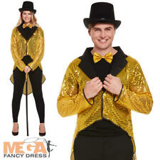 Gold Sequin Tailcoat Adult Fancy Dress Circus Showman Mens Ladies Costume Jacket