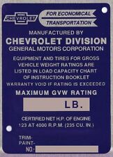 1948 1949 1950 1951 1952 1953 1954  OLD CHEVY TRUCK WARRANTY INFO ID TAG