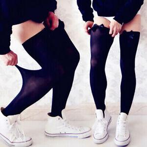 Men Sexy Ribbon Stockings Thigh high Knee long socks Club wear Sissy