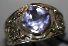 Sterling Silver Ring from Nepal Filigree sides set with 8mm square Purple stones
