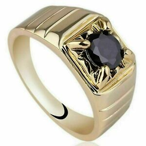 Natural Black Onyx Gemstone With 925 Sterling Silver Ring For Men's #110