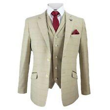 Mens Cavani Beige Tweed Blazer Waistcoat Trousers 3 Piece Suit Sold Separately