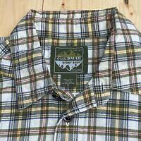 Eddie Bauer Sport Shop Men's XL Green Lightweight Plaid Flannel Button Up Shirt
