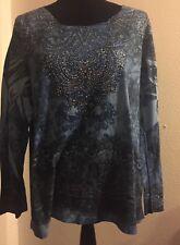 "1x Plus 46"" bust 28"" Length Shirt Top Blouse Azul Hippie Boho Sublimation Print"