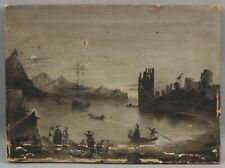 18thC Antique Monochromatic Orientalist Trade Ship Harbor Maritime Oil Painting