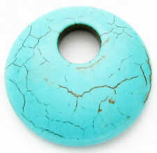 Turquoise 44mm Carved Round Puff DONUT Chunky Large Focal Pendant Loose Bead