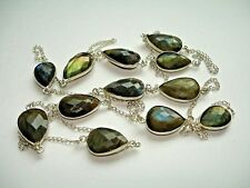 """Silver 12 Station Necklace 28-36+"""" Ab One-of-a-Kind Blue Fire Labradorite .925"""