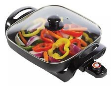 "Brentwood 1300W 12"" Non-Stick Electric Skillet Grill with Glass Lid, Black"